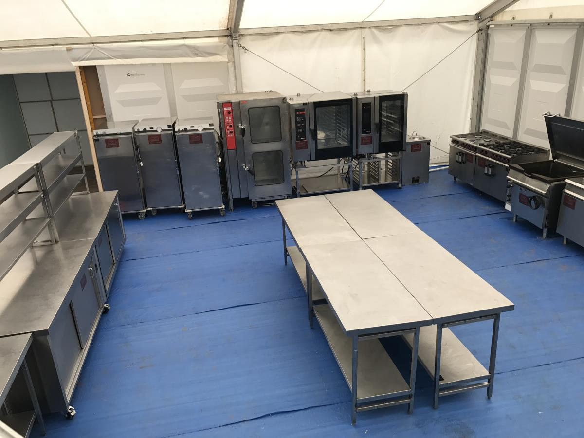 One area of a large sports event marquee kitchen catering 2,500 daily covers.