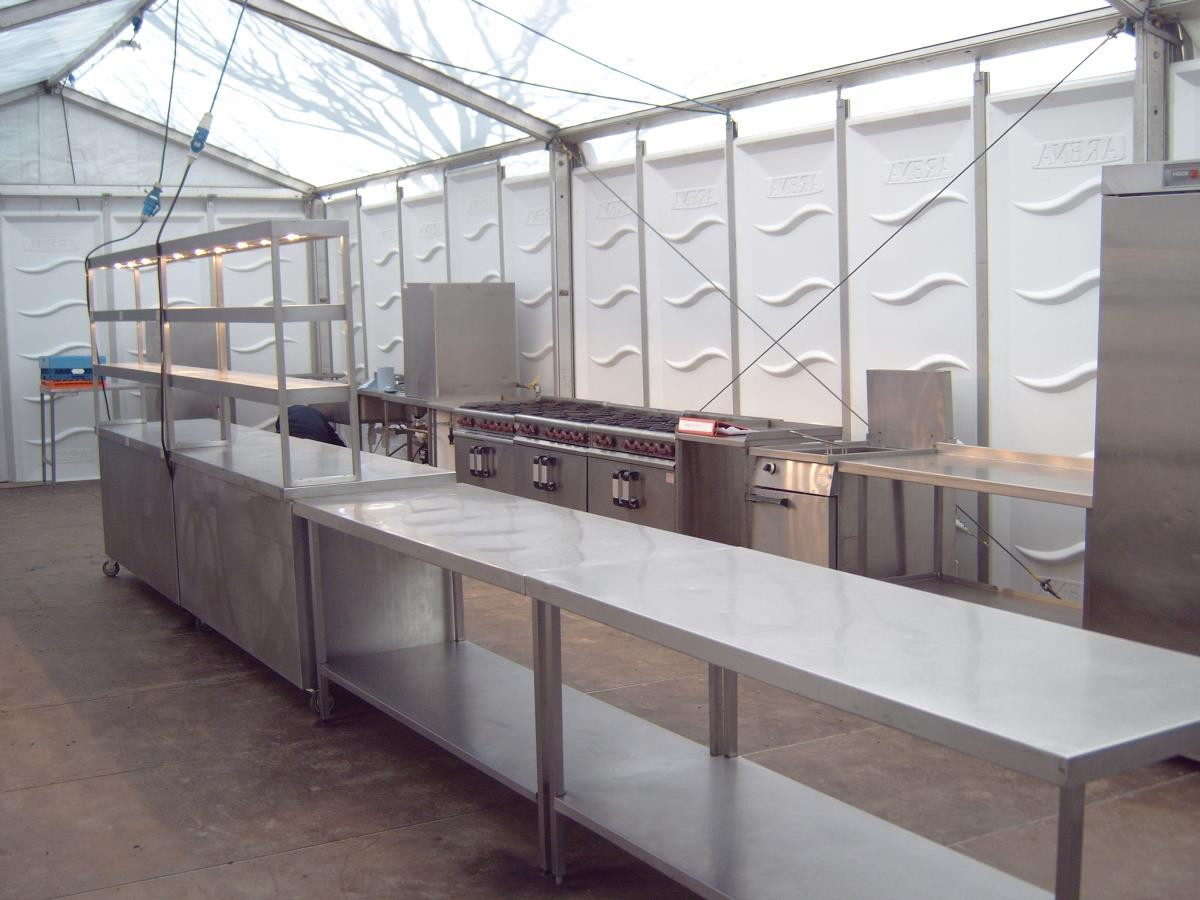 A spacious example marquee kitchen catering for a racing event restaurant.