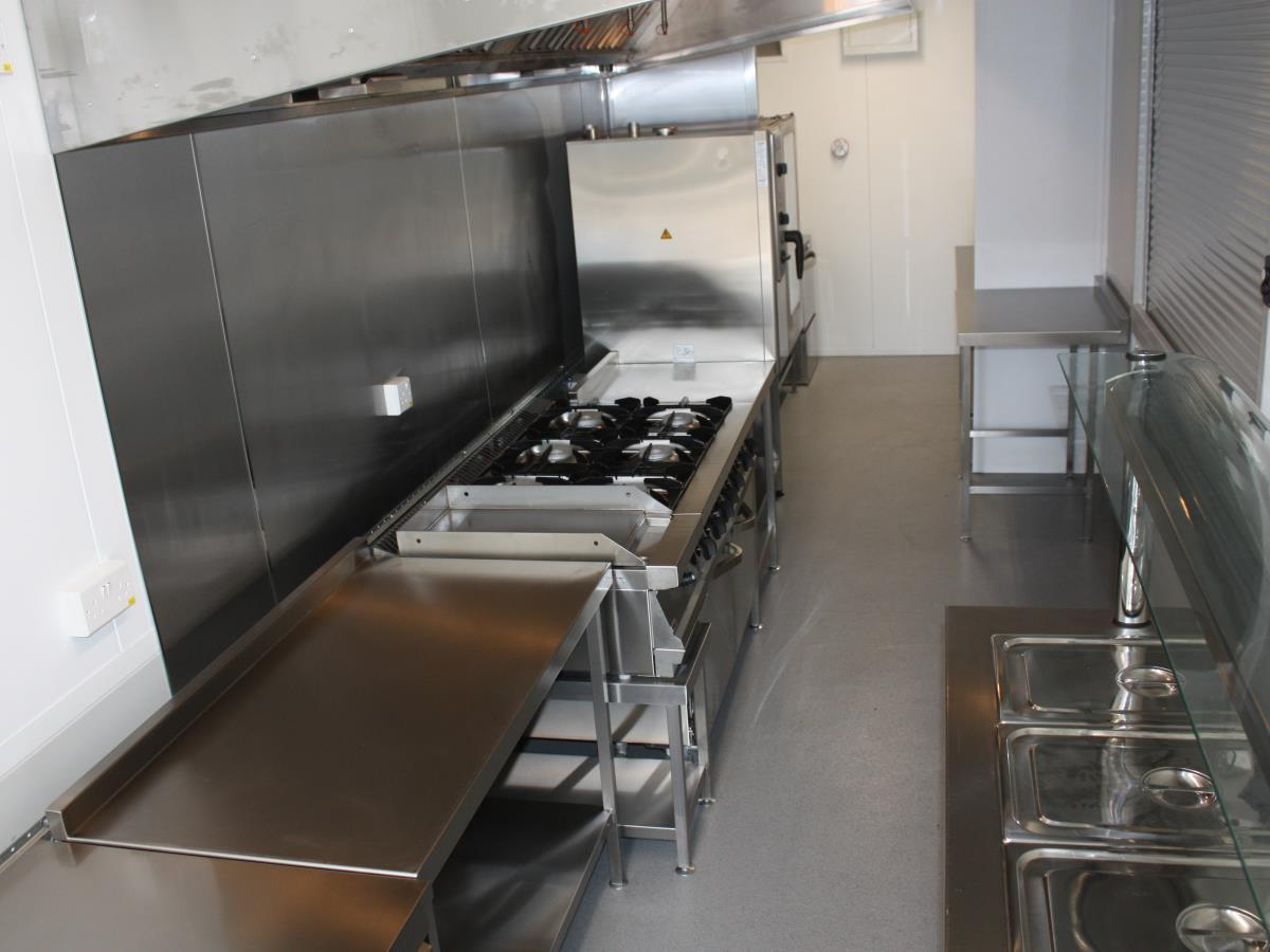 Our shipping container kitchen is perfect for quick deployment to outlying islands.
